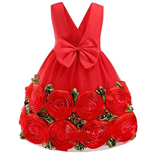 Girls Dress Backless Floral Flare Sleeve Bow Kids Dresses for Girls Princess Dress,Red-1,8 ()