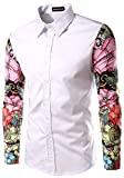 Whatlees Mens Fashion Luxury Casual Slim Fit Stylish Long Sleeve Dress Shirts Floral B030-white-XXL