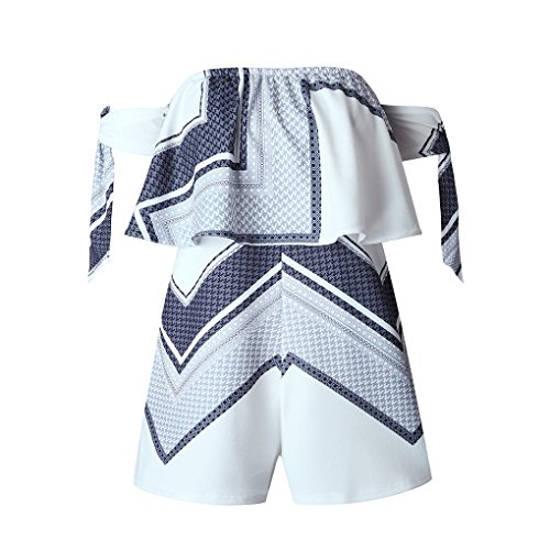 QHGstore Off Hombro Impresión Mujeres Mono Rompers Manga De Arco Backless Short Playsuit Playa Monos un color