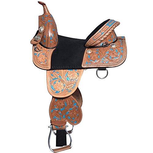Y&Z Enterprises 10″ 11″ & 12″ Youth Child Western Premium Leather Treeless Pony Horse Saddle Tack (10.5″ Inch Seat)