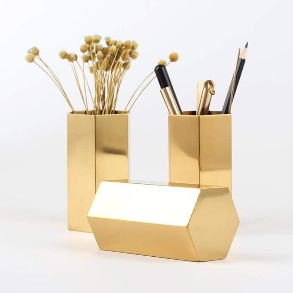 HOCMFH Gold Flower Vase Pen Holder Contenedor de almacenamiento de escritorio para la oficina en el hogar - Hexagon-Luxury Metal Pen Brushes, Gold