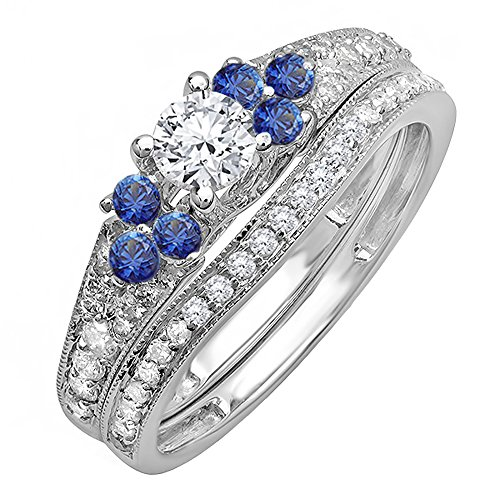 14K White Gold Round Blue Sapphire And White Diamond Ladies Bridal Engagement Ring Band Set (Size 5.5)