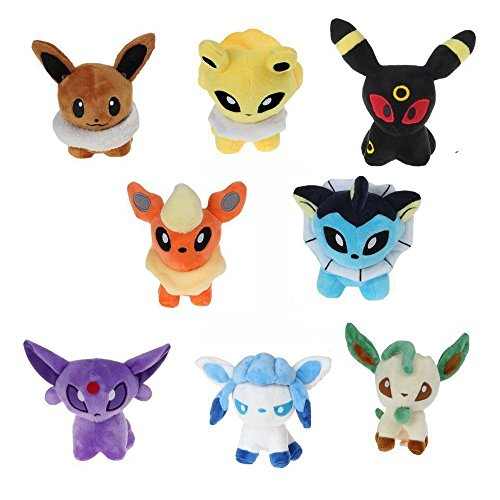 MUGENKI Stuffed Eevee Evolution Plush Set, Pack of 8, Espeon, Umbreon, Eevee, Jolteon, Vaporeon, Flareon, Glaceon and Leafeon