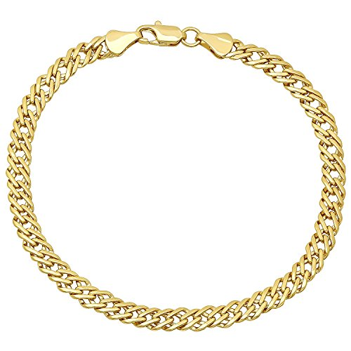 The Bling Factory 14k Yellow Gold Plated 5mm Cuban Curb Double Link Chain Bracelet, 8