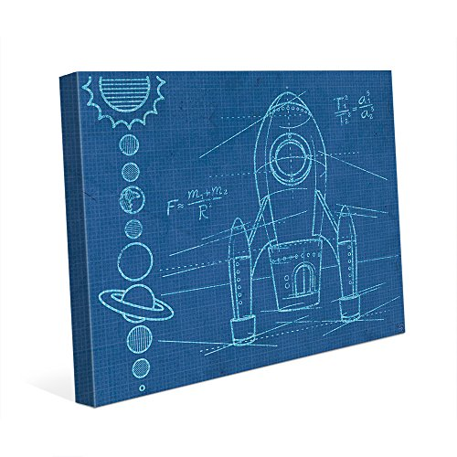 Rocket Blueprint: Drawing of Spaceship and Order of the Solar System Planets with Equations for Childs Kids Childrens Room Wall Art Print on Canvas by Picture Wall Art