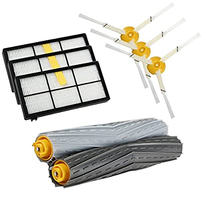 Replacement Parts for iRobot Roomba 980 880 870 800 Robotic Vacuum Cleaner (3pcs Hepa Filters, 3pcs Side Brushes, 1 set Tangle-Free Debris Extractor)