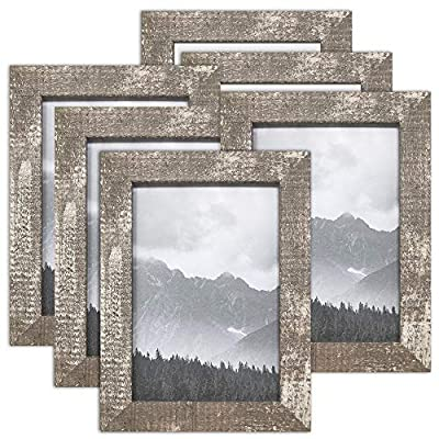 "PF+A 5x7 Picture Frame Nordic Oxford Distressed Wood Effect, Real Glass, 6 Pack - Design: Weathered style - please note that these frames are not wooden and are made from a recycled polystyrene Photo size: Display your 5 x 7"" photo / Visible area will be slightly less (see image 4) Table top & wall hanging - Display as either vertical or horizontal - picture-frames, bedroom-decor, bedroom - 51Hj01bGBML. SS400  -"