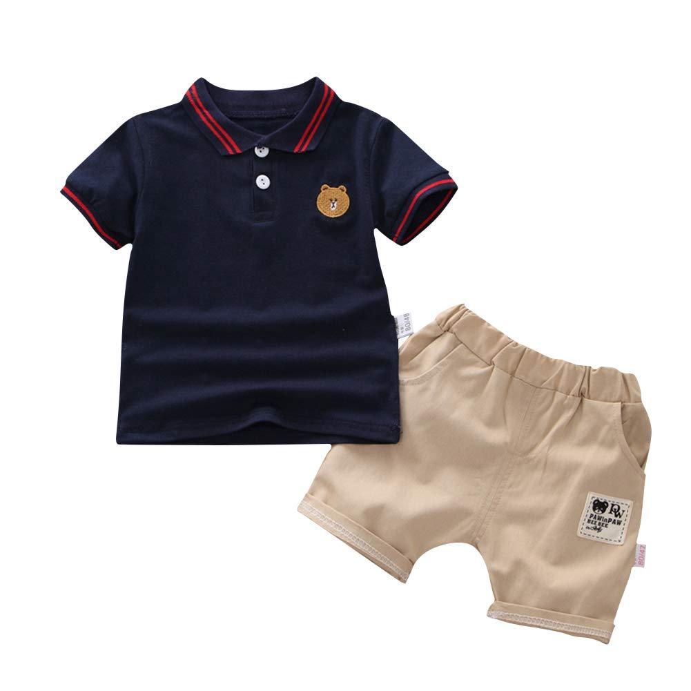 SZBYKJ Kids Boys Tracksuits Sportwear Summer Cute Bear Embroidery Shirt + Shorts 2pcs/Set Navy 100 by SZBYKJ