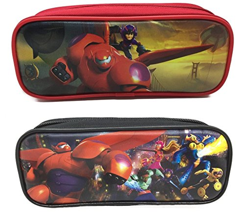 Disney Big Hero 6 Set of 2 Hiro, Baymax Mech, Wasabi, Honey Lemon, Go Go, and Fred Single Zipper Pouch Pencil Case
