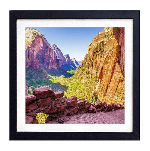 GLITZFAS PRINTS Framed Wall Art- Zion National Park Utah USA- Art Print Black Wood Framed Wall Art Picture for Home Decoration - 20