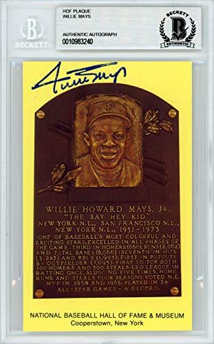 - Willie Mays Autographed HOF Plaque Postcard San Francisco Giants Beckett BAS #10983240