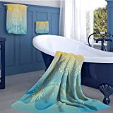 alisoso Art Soft Luxury Bath Sheet Set Thai Pattern Design Illustration of Gold Tree Oriental Culture Asia Eastern Ways Bath towel 3D digital printing set Gold Sky Blue