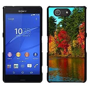 // PHONE CASE GIFT // Duro Estuche protector PC Cáscara Plástico Carcasa Funda Hard Protective Case for Sony Xperia Z3 Compact / Nature Beautiful Forrest Green 79 /