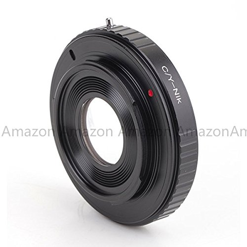 Pixco Black Metal Lens Mount Adapter with Optical Glass for Contax/Yashica C/Y lens to Nikon DSLR/SLR Camera, fits Nikon SLR/DSLR Camera, fits Nikon D3X, D3, D3S, D700, D300 ()