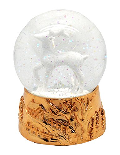 20050 Schneekugelhaus Reindeer White Snow Globe 5.5 Rosé Base & Music Box (Snow Globe Jar)