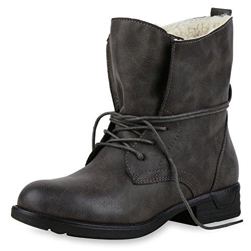 best-boots Damen Stiefelette Boots Worker Stiefel Grau Nuovo Grigio