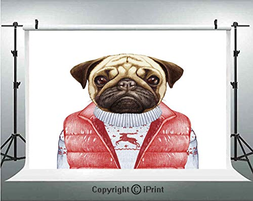 Pug Photography Backdrops Red Vest and Christmas Sweater on a Adorable Dog Hand Drawn Animal Fun Image,Birthday Party Background Customized Microfiber Photo Studio Props,5x3ft,Pale Brown Red White