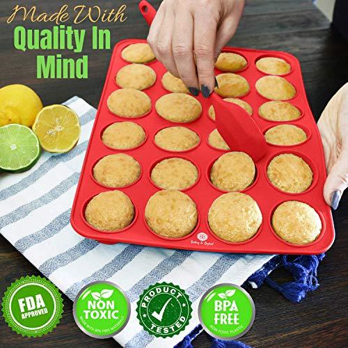 Baking & Beyond Premium Silicone Muffin Pan | Non Stick Silicone Cupcake Pan - 12 Cup Muffin Tray, 24 Cups Mini Cupcakes Pans | Silicon Muffin Molds | Silicone Baking Set - 2 Spatulas - Recipe E-book