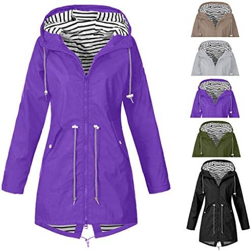Manteau Ample Coupe-Vent /À Capuche Imperm/éable Femmes Veste de Pluie Solide de Plein Air Grande Taille Outerwear Vestes Blousons