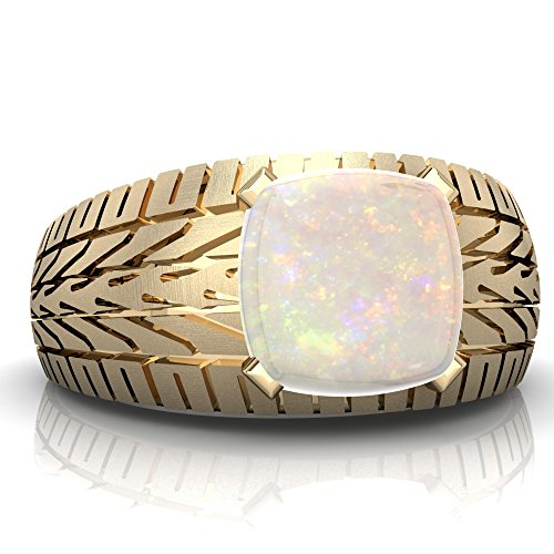 14K Yellow Gold Opal Cushion Tire Tread Men's Ring - Size 11