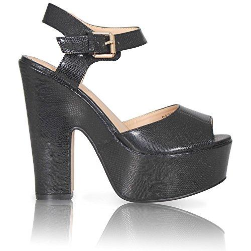 Toe Absatz dicker Peep Sandale Plateau Sandalen PU BLACK SNAKE Damen Knöchelriemen Schuhe wXtq6pxx