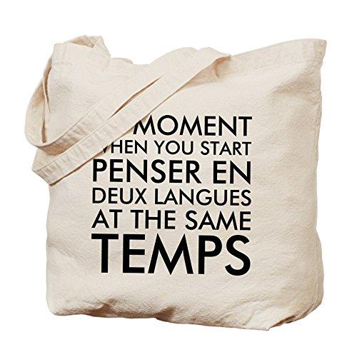 CafePress–pensar en francés y inglés–Gamuza de bolsa de lona bolsa, bolsa de la compra