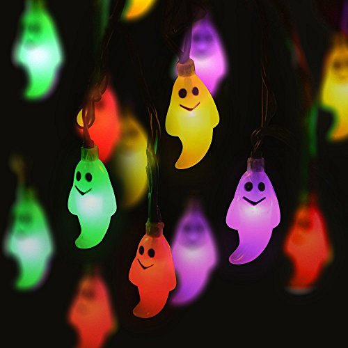 Hot Sale Halloween Ghost String Lights, 10 LED Beads Home,Outdoor Hanging Lighting Decoration for Patio, Garden, Porch, Fence, Christmas Tree, Yard, Party (Multicolor, 4.8 -
