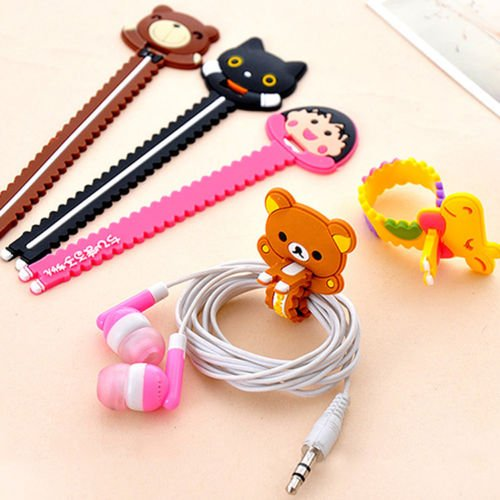 Restonc Cute Monsters University Cartoon Bear Cable Tie Cord Organizer Headset Headphone Earphone Wrap Winder/ Fixer Holder/cord Manager/USB cable Winder (10PCS)