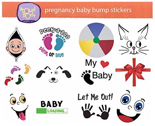 Pregnancy BABY BUMP STICKERS Maternity Weekly Belly Keepsake - 12 pcs