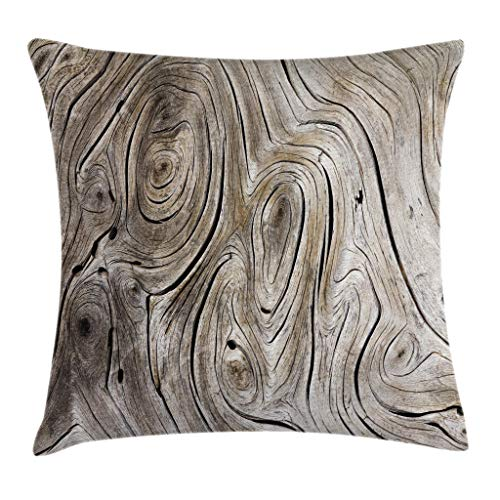 Cheap Ambesonne Rustic Home Decor Throw Pillow Cushion Cover by, Life Cycle Age Circle of Inner Annual Rings Growth Years Whorls Dramatic Theme, Decorative Square Accent Pillow Case, 24 X 24 Inches, Brown