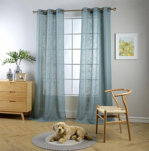 Miuco Semi Sheer Curtains Poly Linen Textured Solid Grommet Curtains 63 Inches Long for Living Room 2 Panels (2 x 37