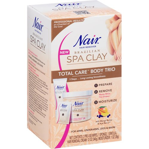 Nair Brazilian Spa Clay Total Care Body Trio Hair Remover Kit, 12 oz (Pack of 3) by Nair