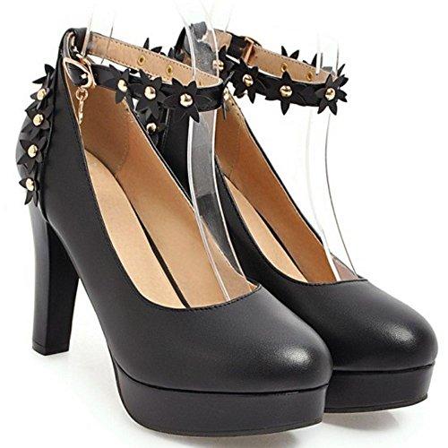 Mujer 3 Dulce Zapatos Zanpa Tacon Flores Black BnfRwqPd