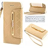 iPhone 6 Plus Case,Candywe#01 Case for iPhone 6 Plus (5.5),iPhone 6 Plus leather,iPhone 6 Plus leather case,Elegant Design Wallet leather case cover for iPhone 6 Plus (5.5) (2014)With strap Gold