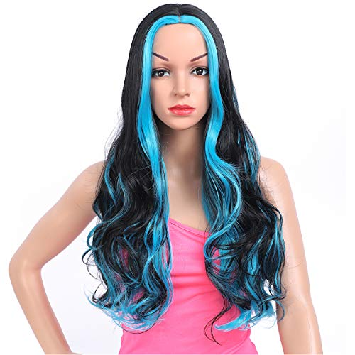 Amchoice Long Black Blue Wavy Wig with Highlights for Women Cosplay Synthetic Wigs Heat Resistant Middle Part Wigs