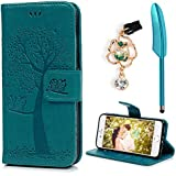 ZSTVIVA iPhone 7 Wallet Case, iPhone 8 Case, Luxury Premium PU Leather Flip Cover Embossed Growing Tree Romantic Couple Owls Style Bumper with Built-in Credit Card/ID Card Slots Stand Holder - Blue