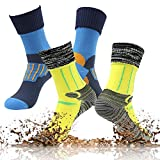 RANDY SUN Water Resistant Hiking Socks, Men's Wicking Cushion Crew Outdoor Athletic Performance Hiking Running Sports Socks