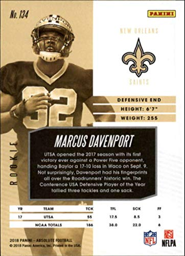 Amazon.com  2018 Absolute Football Spectrum Blue  134 Marcus Davenport  Rookie New Orleans Saints Official NFL Trading Card made by Panini   Collectibles ... 13c22cc62