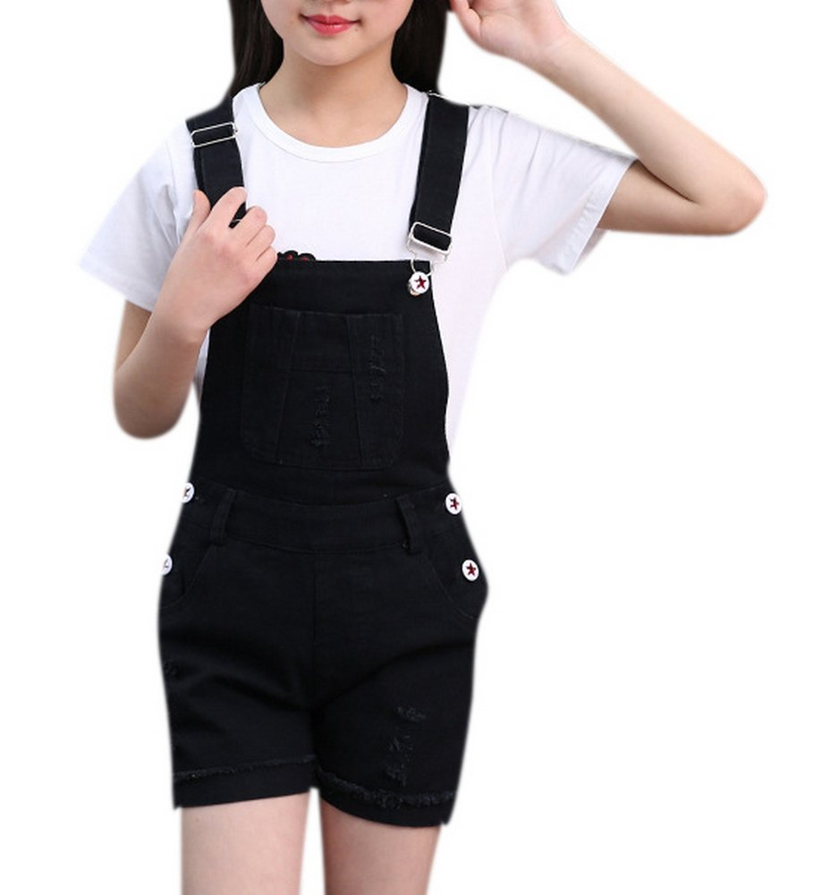 Luodemiss Girls Big Kids Classic Denim Overalls Cute Jumpsuit Casual One Piece Romper 160 Black