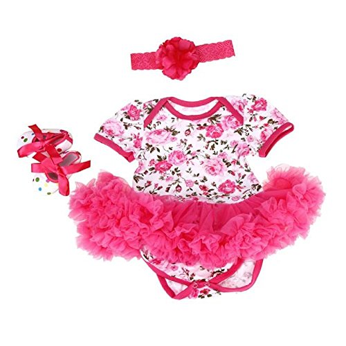 FEITONG 3pcs Baby Girls Floral Print Romper Bodysuit +Headband+ Shoes Sets Clothes (Age 3-6M, Pink) (Clearance Baby)