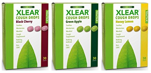 - Xlear Non-GMO Sugar Free Cough Drops 3 Flavor Sampler Bundle, 1 each: Black Cherry, Green Apple, Honey Lemon (30 Count)
