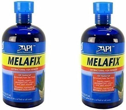 API Melafix Tratamiento contra hongos, podredumbre de las aletas, úlceras y heridas para peceras o acuarios 237 ml (Pack de 2)