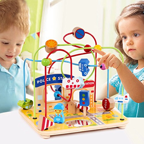 Good Large Wooden Bead Maze First Toddlers Learning Toy Activity