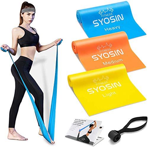 🥇 SYOSIN Bandas Elasticas Fitness 3 Piezas Bandas de Ejercicio