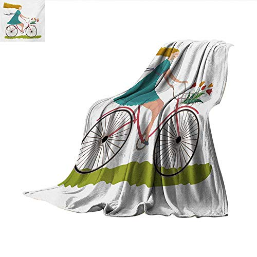 Bicycle Super Soft Lightweight Blanket Young Woman on Bike with Basket of Tulip Flowers Riding in The Spring Countryside Velvet Plush Throw Blanket 80