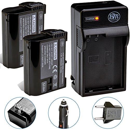 BM Premium 2 Pack of EN-EL15B Batteries and Battery Charger for Nikon Z6, Z7, D850, D7500, 1 V1, D500, D600, D610, D750, D800, D800E, D810, D810A, D7000, D7100, D7200 Digital Cameras (Nikon D7000 Battery Grip)