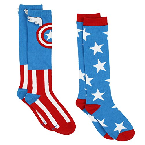 Captain America Superhero Womens Novelty Costume 2 pack Knee High Socks (9-11 (Shoe: 4-10), Captain Blue/Red) (Ladies Captain America Costumes)