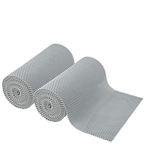 - SteadMax Shelf Liner - 12 in X 40 ft - Non Slip Grip Liner for Kitchen Shelves, Drawer, Cabinet, Pantry, Non Adhesive Nonslip Soft Rubber Cushion Shelf Lining Roll, Gray (2 Pack)