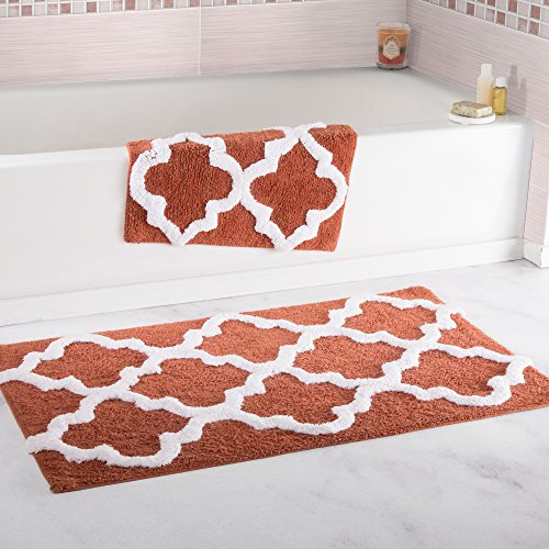 Regal Small Rug - Lavish Home 100% Cotton 2 Piece Trellis Bathroom Mat Set - Brick