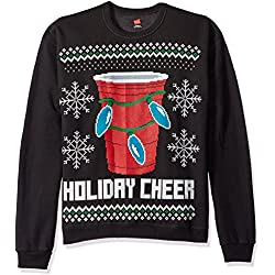 Hanes Men's Ugly Christmas Sweatshirt,Ebony Holiday Cheer